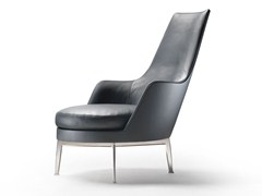 - High-back upholstered leather armchair with armrests GUSCIOALTO | Armchair with armrests - FLEXFORM