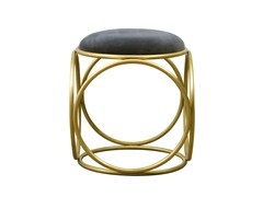 - Low upholstered stool BRASS RINGS | Upholstered stool - Hamilton Conte Paris