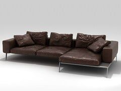 - Corner sectional leather sofa LIFESTEEL | Corner sofa - FLEXFORM