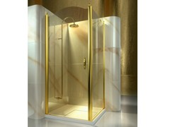 - Corner custom tempered glass shower cabin GOLD AL+FD - VISMARAVETRO