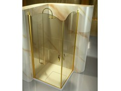 - Corner tempered glass shower cabin with hinged door GOLD AP+AP - VISMARAVETRO