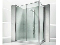 - Corner custom crystal shower cabin with sliding door SERIE 6000: 6100+6300 - VISMARAVETRO