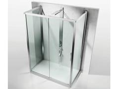 - Custom crystal shower cabin with sliding door SERIE 6000: 6300+6100+6300 - VISMARAVETRO