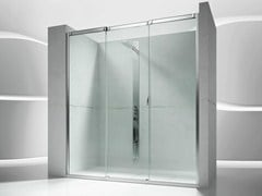 - Niche tempered glass shower cabin with sliding door SLIDE V3 - VISMARAVETRO