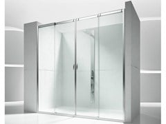 - Niche tempered glass shower cabin with sliding door SLIDE V4 - VISMARAVETRO