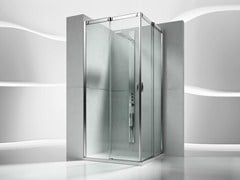 - Corner tempered glass shower cabin with sliding door SLIDE VA+VA - VISMARAVETRO