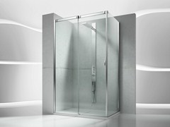 - Corner tempered glass shower cabin with sliding door SLIDE VQ+VF - VISMARAVETRO