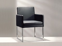 - Sled base upholstered leather chair with armrests D13-21   Upholstered chair - Hülsta-Werke Hüls