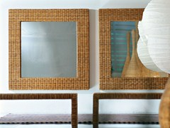 - Square mirror in handwoven dark pulut NET 97 - Gervasoni