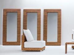 - Rectangular framed mirror in handwoven dark pulut NET 98 - Gervasoni
