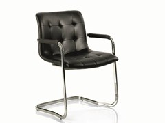 - Cantilever upholstered leather chair KUGA | Chair with armrests - Bontempi Casa