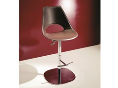 - Tanned leather chair with footrest SHARK   Counter stool - Bontempi Casa