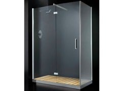- Corner glass shower cabin with hinged door with tray ELITE A11 - RARE