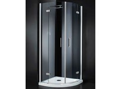 - Corner semicircular crystal shower cabin with hinged door RETTANGOLO A10 - RARE