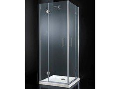 - Corner crystal shower cabin with hinged door LIGHT A09 - RARE