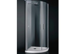 - Corner semicircular tempered glass shower cabin with hinged door SEGNO A08 - RARE