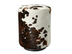- Upholstered cowhide pouf ALY | Cowhide pouf - AZEA
