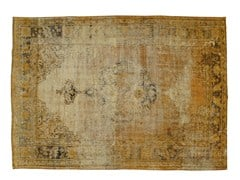 - Vintage style handmade rectangular rug DECOLORIZED YELLOW - Golran