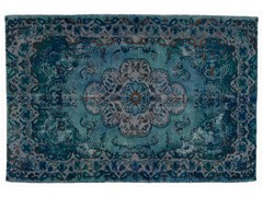 - Vintage style handmade rectangular rug DECOLORIZED BLUE - Golran