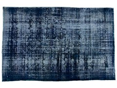 - Vintage style handmade rectangular natural fibre rug DECOLORIZED DARK BLUE - Golran