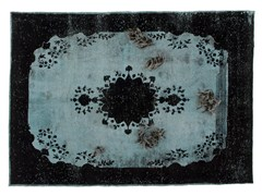 - Vintage style patterned handmade rectangular rug DECOLORIZED MOHAIR BLACK - Golran