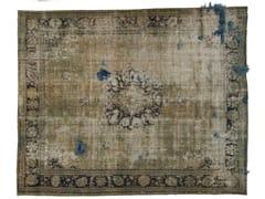 - Vintage style handmade rectangular rug DECOLORIZED MOHAIR AQUA - Golran
