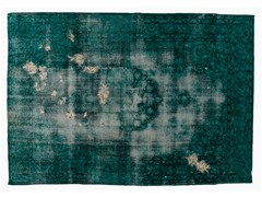 - Vintage style handmade rectangular rug DECOLORIZED MOHAIR TURQUOISE - Golran