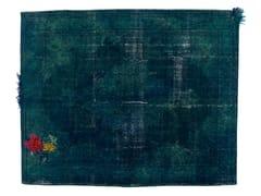 - Vintage style handmade rectangular rug DECOLORIZED MOHAIR BLUE - Golran