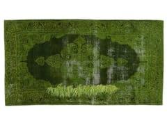 - Vintage style handmade rectangular rug DECOLORIZED MOHAIR GREEN - Golran