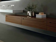 - Low suspended walnut bathroom cabinet ZERO | Walnut bathroom cabinet - RIFRA