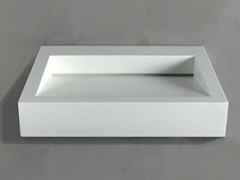 - Rectangular wall-mounted Corian® washbasin GAP TO WALL 04 - RIFRA