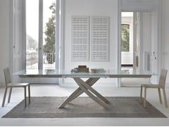 - Extending rectangular table ARTISTICO | Wood and glass table - Bontempi Casa