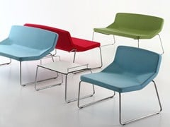 - Sled base fabric easy chair FORMULA LOUNGE SLED FABRIC - AREA DECLIC