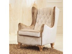 - Tufted upholstered fabric armchair with armrests NINA | Fabric armchair - Formenti