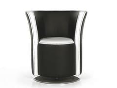 - Swivel upholstered leather easy chair FLUT | Swivel easy chair - Formenti