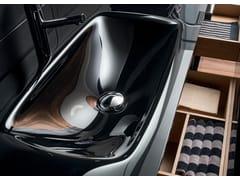 - Rectangular single glass washbasin with integrated countertop VETRO H1   Glass washbasin - FALPER
