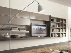 - Sectional wall-mounted lacquered storage wall CROSSING | Sectional storage wall - MisuraEmme