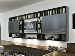 - Sectional wall-mounted lacquered storage wall CROSSING | Wall-mounted storage wall - MisuraEmme