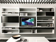 - Sectional floating bookcase with drawers CROSSING | Bookcase with drawers - MisuraEmme