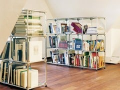 - Glass and steel bookcase / display cabinet USM HALLER GLAS SHELVING AND SHOWCASES | Bookcase - USM Modular Furniture