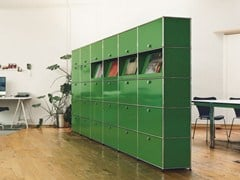 - Tall modular metal office storage unit USM HALLER MODULAR OFFICE SHELVING | Office storage unit - USM Modular Furniture