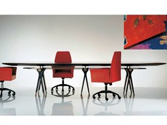 - Oval wood and glass table SC1013/A | Meeting table - OAK Industria Arredamenti