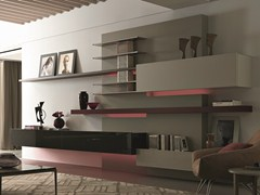 - Sectional wall-mounted lacquered wooden storage wall TAO10 | Storage wall - MisuraEmme