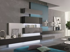 - Sectional wall-mounted lacquered wooden storage wall TAO10 | Sectional storage wall - MisuraEmme