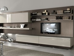 - Sectional wall-mounted lacquered wooden storage wall TAO DAY | Wall-mounted storage wall - MisuraEmme