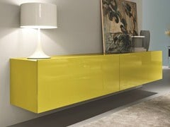 - Lacquered suspended wooden sideboard with sliding doors SQUARE | Suspended sideboard - MisuraEmme