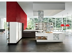 - Kitchen with island with integrated handles ORANGE EVOLUTION | Kitchen with island - Snaidero