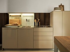 - Lacquered stainless steel and wood kitchen B3 | Larch kitchen - Bulthaup