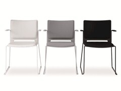 - Sled base stackable chair with armrests FILÒ SOFT | Chair with armrests - Diemmebi