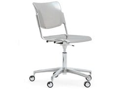 - Plate waiting room chair with 5-Spoke base with casters LAMIA METAL | Chair with casters - Diemmebi